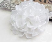 White Fabric Flower / Hair Flower / Rose Fabric Flower / Chiffon Flower   FLW-06  NO CLIPS