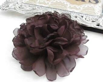 Brown Fabric Flower / Hair Flower NO CLIPS / Rose Fabric Flower / Chiffon Flower  FLW-06