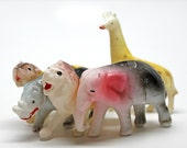 On Safari*Plastic Novelty Animals*Cake Toppers*Set of 5 Vintage Animals