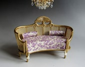 1:12th Scale ~ Dolls House ~ Thomas Sheraton Gilded Wicker Sofa ~ Circa 1750