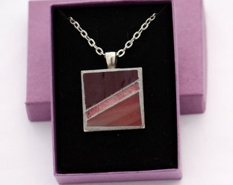 Pink, Rose & Burgundy Mosaic Pendant Silver-Finish Necklace