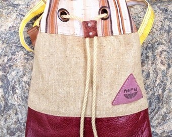 Purple stone bag, recycled linen canvas, upcycled watereproof canvas and recycled Italian leather shoulder