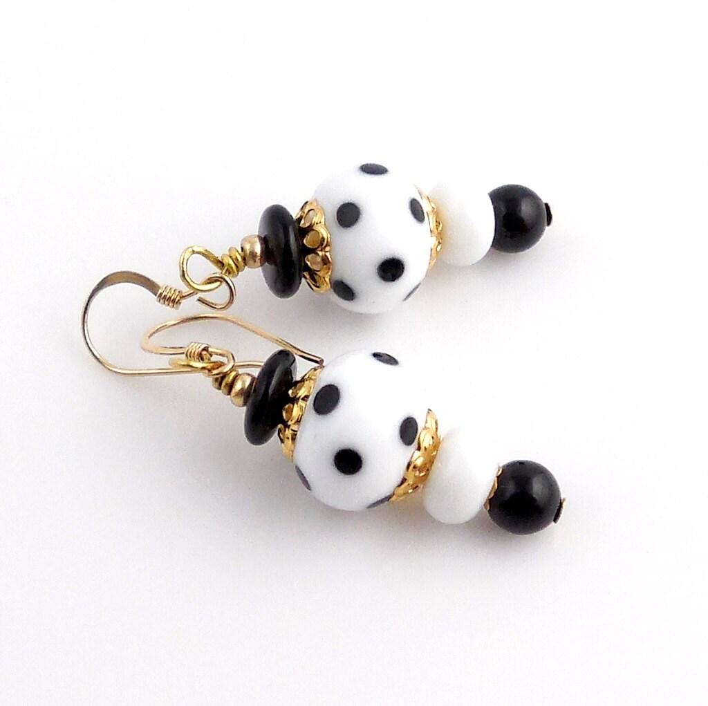 black and white polka dot lampwork art glass by ramonahall