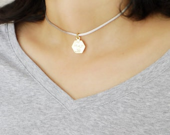 Initial Choker Necklace Personalized Choker Satin Cord Choker Necklace Hexagon Choker Necklace Name Necklace Geometric Choker Necklace