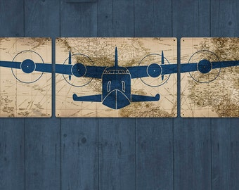 China clipper honolulu hawaii art deco airplane travel over - Vintage airplane triptych ...