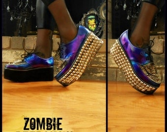 "Holographic ""Metalloid"" Purple/Teal Metallic Platform Creepers"