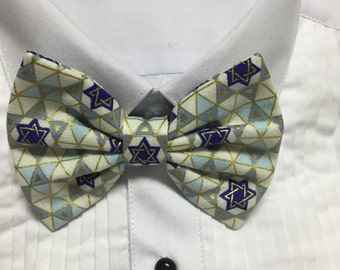 Hanukkah Star of David Gold white and Blue Bowtie / Bow Tie or Hair Bow