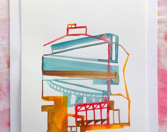 Small abstract watercolor studies on architecture. Study n.3a