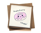 SALE Doughnut Worry Card Cute Motivational Message Greeting Cards Kawaii Food Inspired