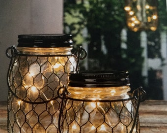 3.75in tall Black Wire Net Lighted Mason Jar