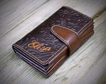 Women's Leather Wallet, Handtooled Women's Wallet, Women's Wallet, Personalized Women's Wallet, Women's Gift, Handstitched Women's Wallet
