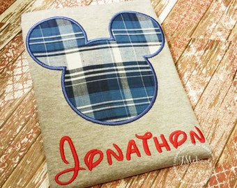 Plaid Boy Mouse Custom embroidered Disney Inspired Vacation Shirts for the Family! 808 blue