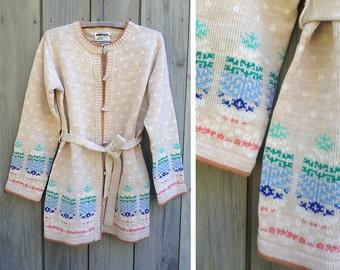 Vintage sweater | 1970s belted Fair Isle cardigan