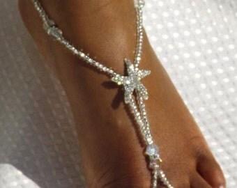 Rhinestone Starfish Barefoot Sandals AB Crystal Barefoot Sandals  ONE PAIR