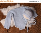 SALE SALE,Very Soft Wool Newborn Onesie And Bonnet Set,  Newborn Outfit, Newborn Photo Prop, Luxury Angora Sets, Sky Blue Newborn One Piece