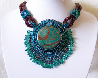 Bead Embroidery Beadwork Pendant Necklace  with Agate - EMERALD RUNE - emerald and brown - statement necklace - big pendant necklace