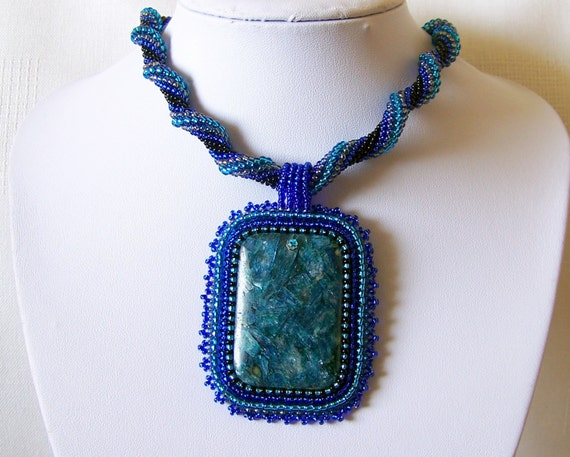 Beadwork Bead Embroidery Pendant Necklace with blue Apatite - STARRY NIGHT - Apatite necklace - modern necklace - blue rope necklace