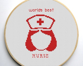 Cross stitch pattern pdf World's Best Nurse Instant Download