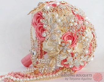WEDDING BROOCH BOUQUET. Bridal bouquet, wedding gold bouquet. Coral gold wedding brooch bouquet, Jewelry Bouquet, brooch bouquet.