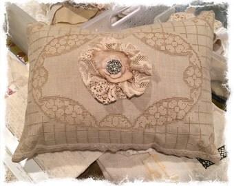 Antique lace pillow