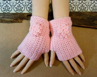 Crochet Fingerless Gloves, Wrist Warmers, Pale Pink Arm Warmers, Crochet Flower, Winter Wool Mittens, Australia, Nchanted Gifts
