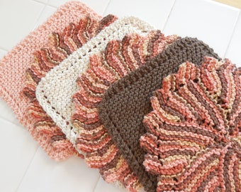 Deep in the Woods, Set of Six Handknit Cotton Dishcloths, Summer Cabin, Guy, Host Gift Idea, Cabin Kitchen, Hostess Gift, Made in USA