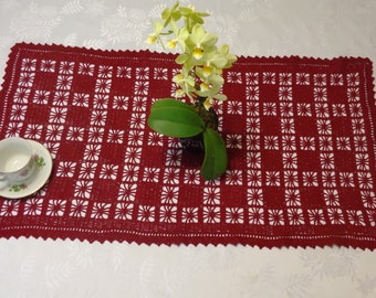"""Crochet Handmade Table Runner (18.5x33"""",burgundy shown) / Elegant Home Accents / Lacy Doily / Table Centerpiece Decoration / New Home Gift"""