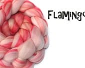 Blended Merino wool top/roving - 23 micron Merino - Bamboo - 100g/ 3.5oz- THE FLAMINGO