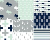 Modern Deer Moose nursery baby bedding DESIGN YOUR OWN mint navy grey