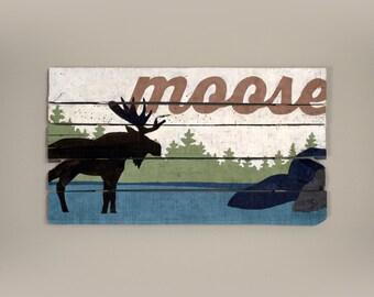Rustic wooden moose wall decor, distressed cabin wall art, rustic pallet wood wall art