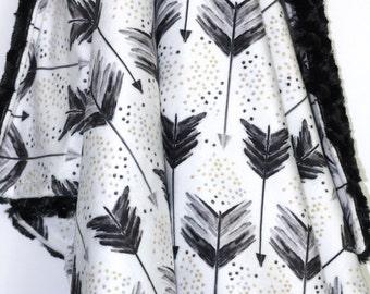 Arrow Baby Blanket-A Shot in Water-Monochromatic Blanket-Baby-Baby Blanket-Minky Blanket-Tribal Blanket
