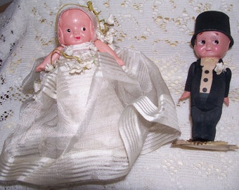 Celluloid Bride and Groom Dolls, Cake Toppers