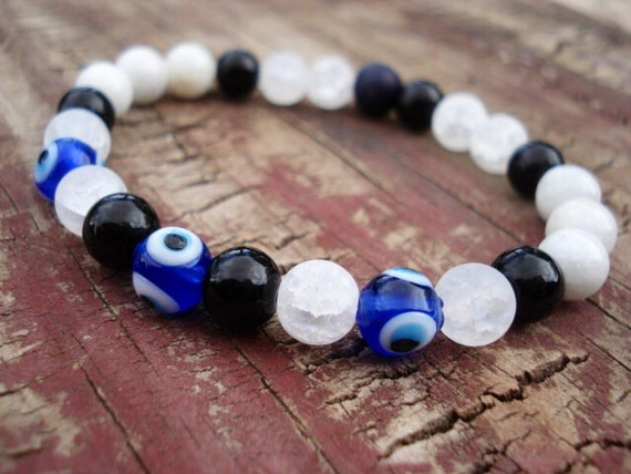Evil Eye Bracelet, Evil Eye Jewelry, Eye Jewelry, Good Luck Bracelet, Spiritual Bracelet, Black Beaded Bracelet, Stretch Bracelet