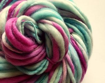 Handspun, thick and thin yarn, pink and turquoise, chunky knitting yarn, merino