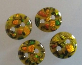 Button 1 inch Small Dichroic in Yellow Fused Glass Craft Buttons