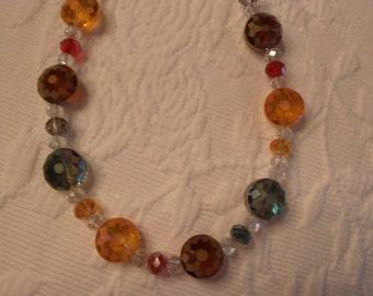 OOAK Handmade All Art Glass Aurora Borealis Jewel Tones Necklace and Earring Set