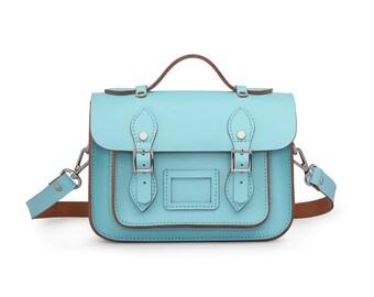 Mini Wooster British Handmade Leather Satchel - Pastel Sky Blue