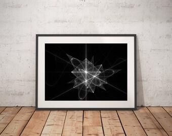 Black and White Abstract art, abstract art, fractal art, computer geek gift, symmetric art, home decor, office decor,  geek nerd art, prints