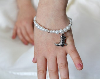 Cowgirl Flower Girl Bracelet - Barn Wedding - Rustic Wedding Gift - Cowboy Boot - Charm Bracelet - Flower Girl Gift - Layla