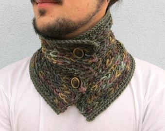 Knit Textured Crochet Neck warmer Scarf Crocheted Winter Woodland Winter Accessories Brown Green Wool Woolen yarn