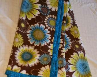 """Hand Crafted Teal and Brown Flowers Fleece Blanket 49"""" X 61"""" NEW"""