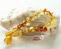 Baltic Amber Teething Bracelet / Anklet - Polished Multicolor Amber Beads - Screw or Safety clasp - Choose Your Length, AP-2
