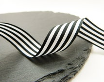 Black And White Stripe Ribbon 16mm Berrisfords