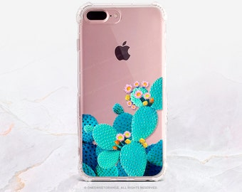iPhone 7 Cacti Bloom GRIP Clear Rubber Case iPhone 7 Plus Clear Case iPhone 6 Case iPhone 6S Case iPhone SE Case Samsung S7 Edge Case U97