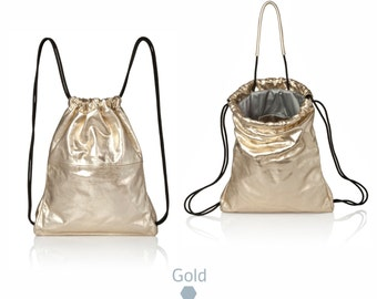 Metallic Gold Leather backpack purse - metallic leather bag SALE women backpack - laptop backpack- drawstring backpack gold leather rucksack