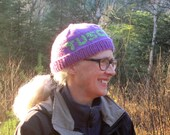 Purple Hand Knit Tuscarora Hat with Green Lettering