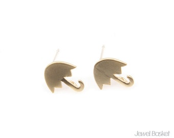 Umbrella Earrings in Matte Gold / 9mm x 10mm / BMG231-E (2pcs)