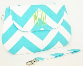 Monogrammed Chevron Wristlet in Choice of Colors