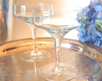 Vintage Champagne Coupe Glasses Saucers Set of 2 | Light Blue Crystal Champagne Coupes Pair | Bride and Groom Toasting Glasses Wedding Toast