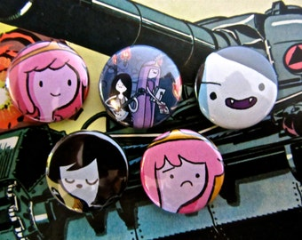 Marceline & PB - Adventure Time Upcycled Comic Book Button Badge Set.